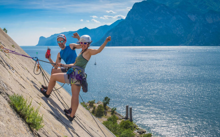 multi pitch climbing course at lake garda